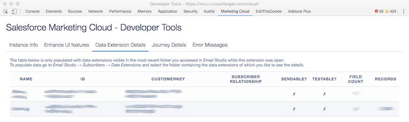 Salesforce Marketing Cloud Developer Toos - Data Extension Details