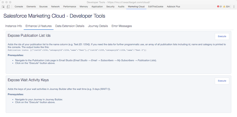 Salesforce Marketing Cloud Developer Toos - Enhance UI features
