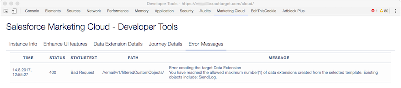 Salesforce Marketing Cloud Developer Toos - Error Messages