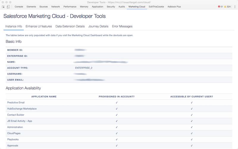 Salesforce Marketing Cloud Developer Toos - Instance Info